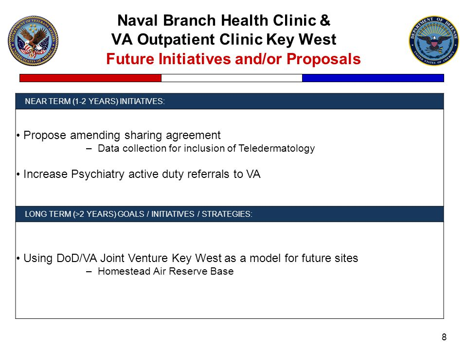Naval Branch Health Clinic & VA Outpatient Clinic Key West 8 Future Initiatives and/or Proposals NEAR TERM (1-2 YEARS) INITIATIVES: Propose amending sharing agreement –Data collection for inclusion of Teledermatology Increase Psychiatry active duty referrals to VA LONG TERM (>2 YEARS) GOALS / INITIATIVES / STRATEGIES: Using DoD/VA Joint Venture Key West as a model for future sites –Homestead Air Reserve Base