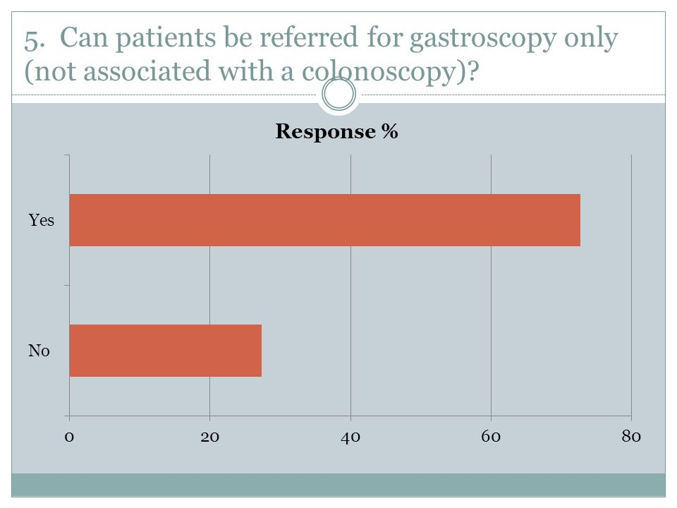 5. Can patients be referred for gastroscopy only (not associated with a colonoscopy)?