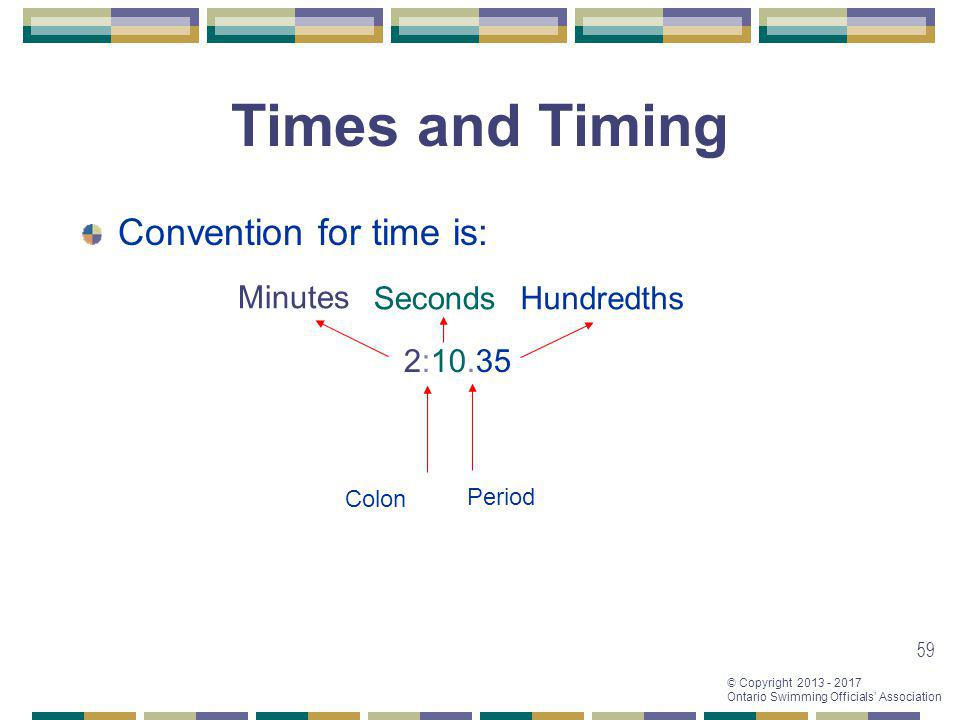 © Copyright 2013 - 2017 Ontario Swimming Officials Association 59 Times and Timing Convention for time is: 2:10.35 ColonPeriod Minutes SecondsHundredt