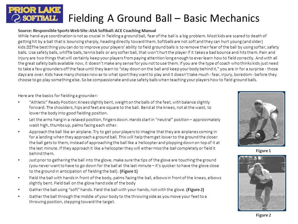 Fielding A Ground Ball – Basic Mechanics Here are the basics for fielding a grounder: Athletic Ready Position: Knees slightly bent, weight on the ball