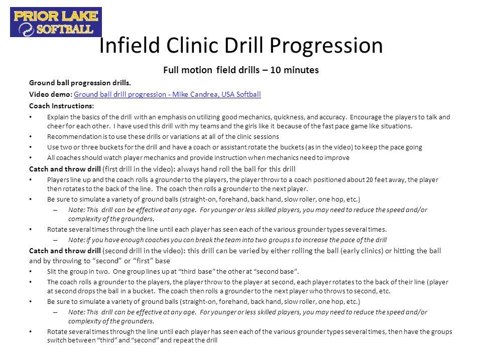 Infield Clinic Drill Progression Full motion field drills – 10 minutes Ground ball progression drills. Video demo: Ground ball drill progression - Mik