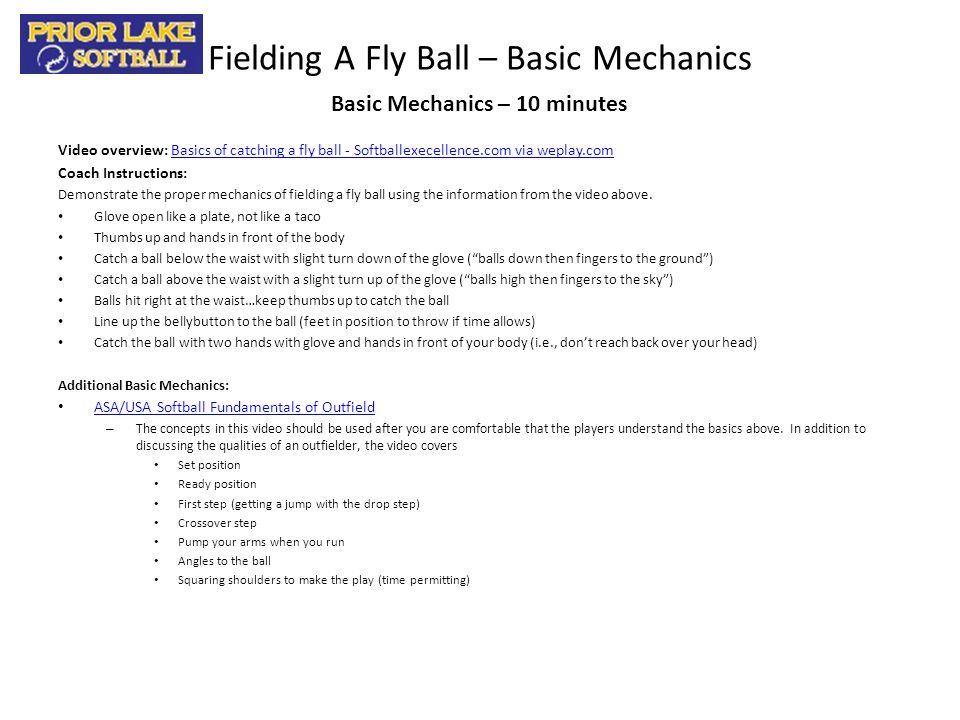 Fielding A Fly Ball – Basic Mechanics Video overview: Basics of catching a fly ball - Softballexecellence.com via weplay.comBasics of catching a fly b
