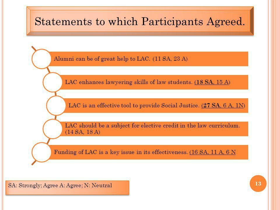 13 Statements to which Participants Agreed.