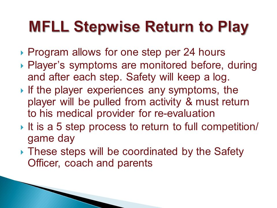 Program allows for one step per 24 hours Players symptoms are monitored before, during and after each step.