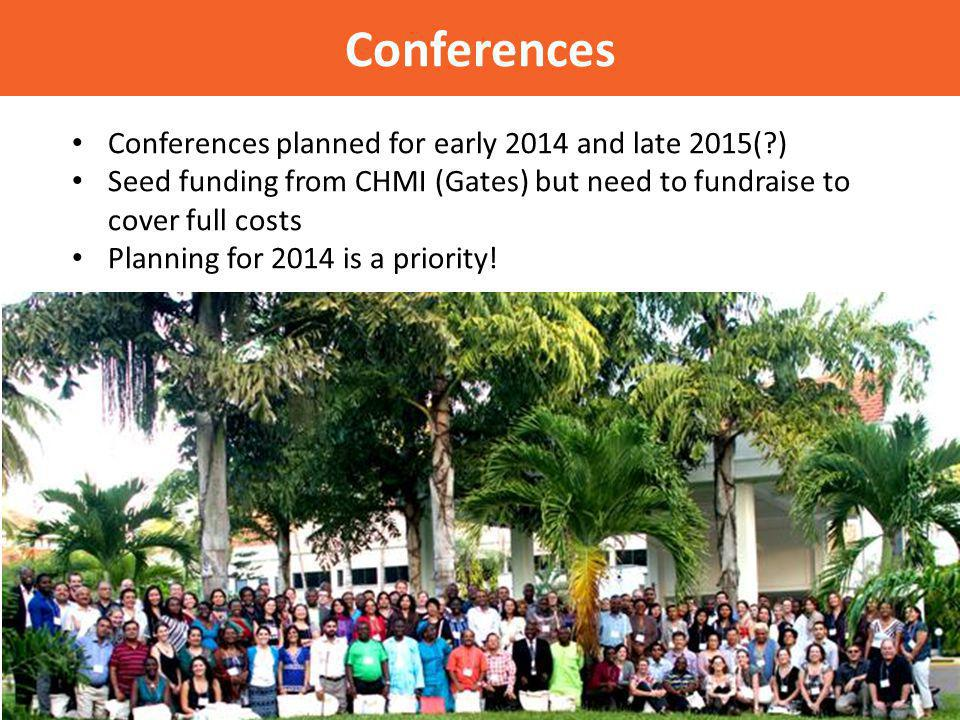 Conferences Conferences planned for early 2014 and late 2015( ) Seed funding from CHMI (Gates) but need to fundraise to cover full costs Planning for 2014 is a priority!
