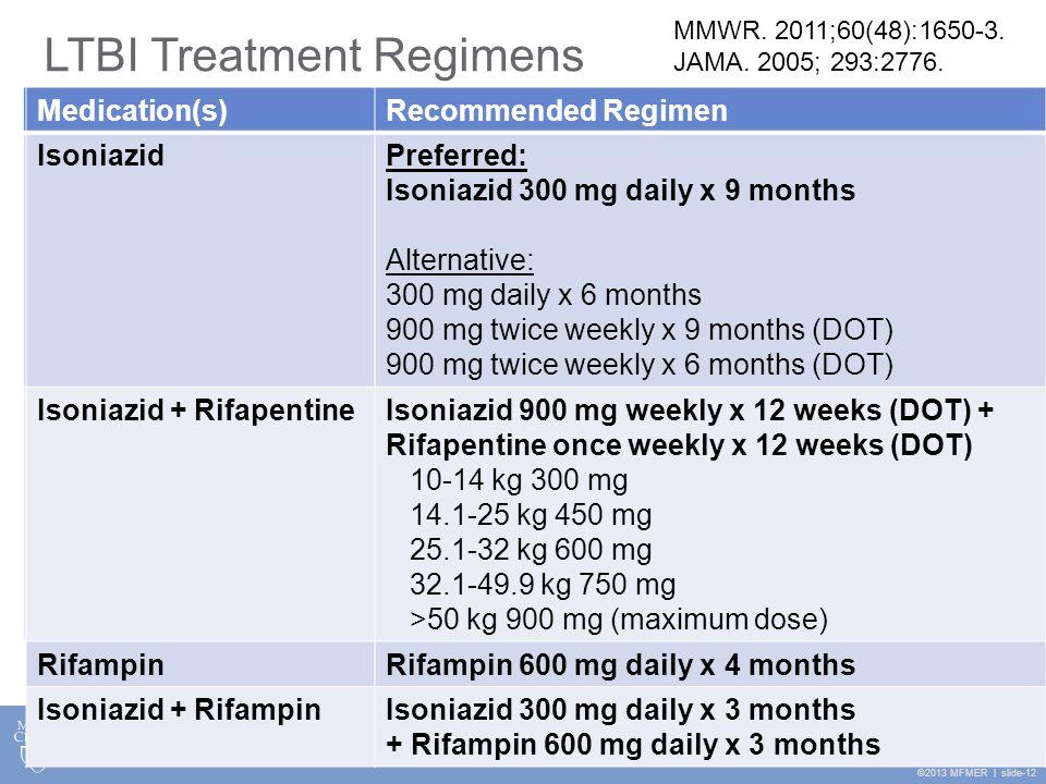 ©2013 MFMER | slide-12 Medication(s)Recommended Regimen IsoniazidPreferred: Isoniazid 300 mg daily x 9 months Medication(s)Recommended Regimen Isoniaz