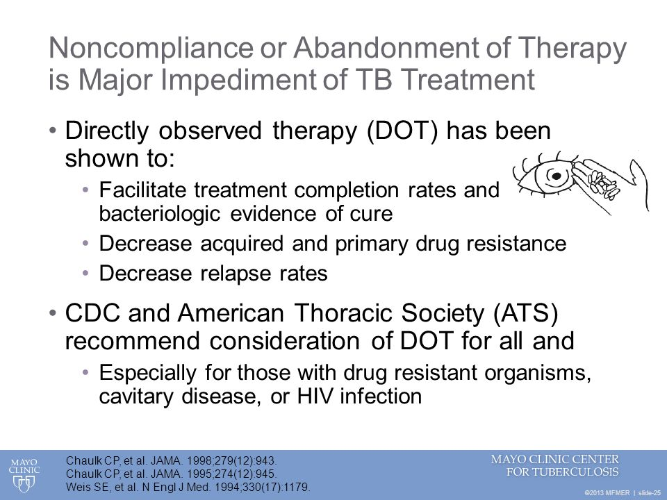 ©2013 MFMER | slide-25 Noncompliance or Abandonment of Therapy is Major Impediment of TB Treatment Directly observed therapy (DOT) has been shown to: