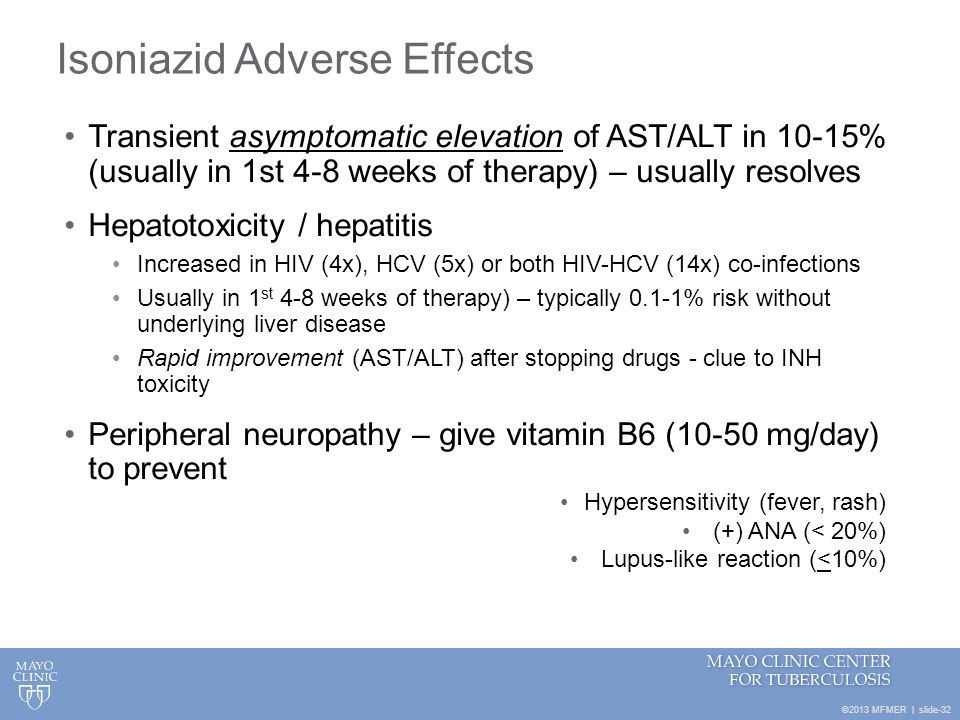 ©2013 MFMER | slide-32 Isoniazid Adverse Effects Transient asymptomatic elevation of AST/ALT in 10-15% (usually in 1st 4-8 weeks of therapy) – usually