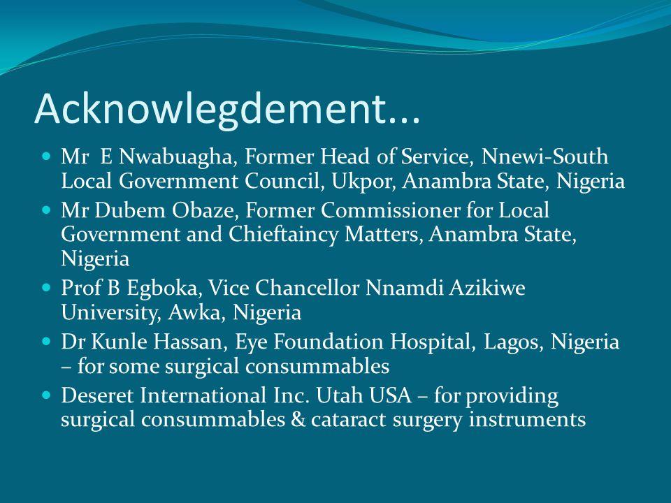 Acknowlegdement... Mr E Nwabuagha, Former Head of Service, Nnewi-South Local Government Council, Ukpor, Anambra State, Nigeria Mr Dubem Obaze, Former