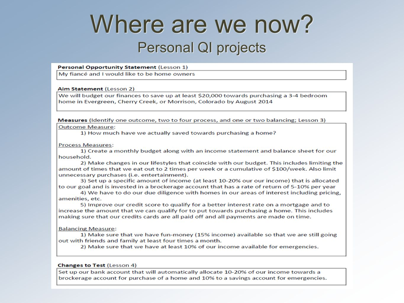 Where are we now Personal QI projects
