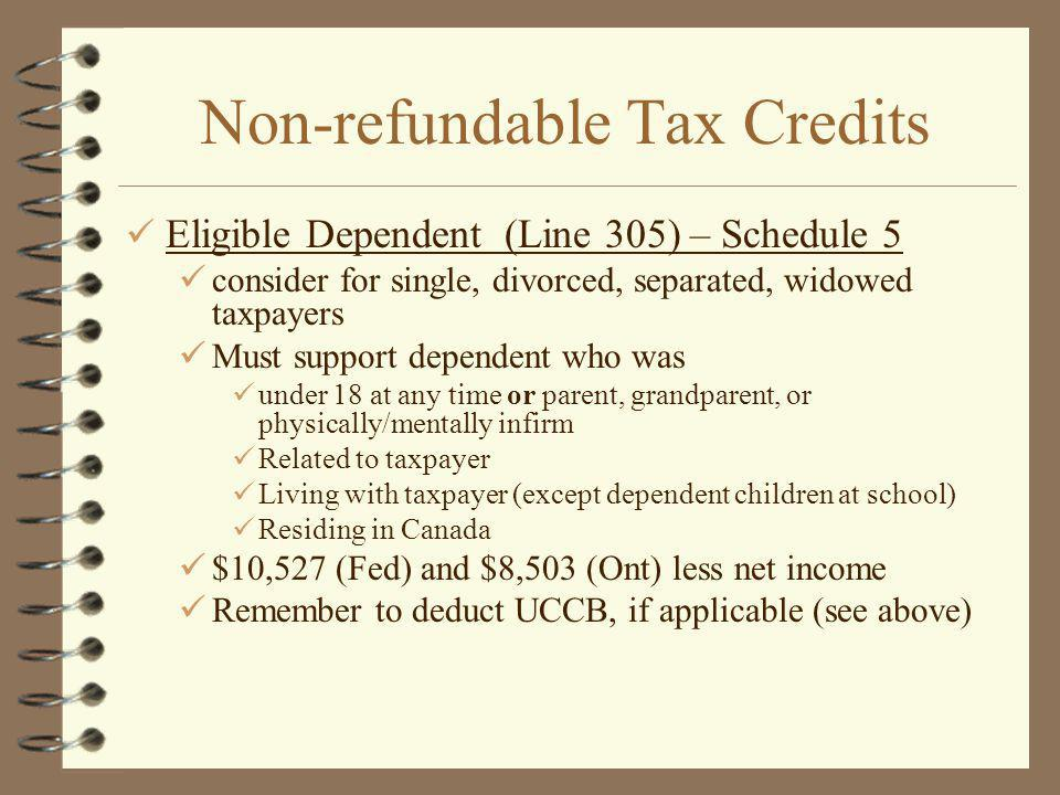 Non-refundable Tax Credits Eligible Dependent (Line 305) – Schedule 5 consider for single, divorced, separated, widowed taxpayers Must support dependent who was under 18 at any time or parent, grandparent, or physically/mentally infirm Related to taxpayer Living with taxpayer (except dependent children at school) Residing in Canada $10,527 (Fed) and $8,503 (Ont) less net income Remember to deduct UCCB, if applicable (see above)