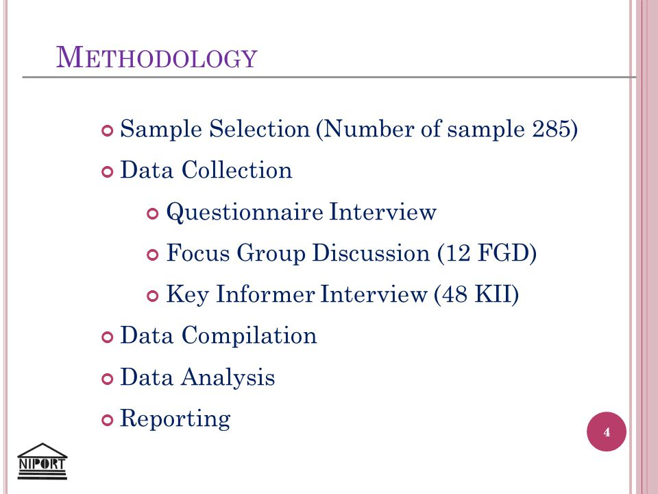 M ETHODOLOGY Sample Selection (Number of sample 285) Data Collection Questionnaire Interview Focus Group Discussion (12 FGD) Key Informer Interview (4