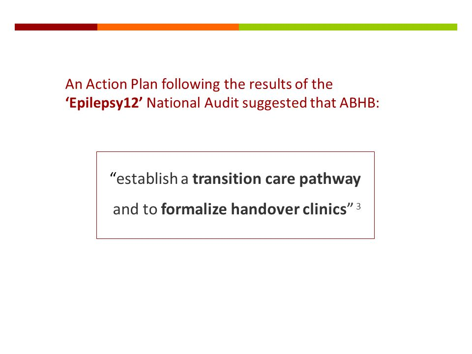 An Action Plan following the results of the Epilepsy12 National Audit suggested that ABHB: establish a transition care pathway and to formalize handov