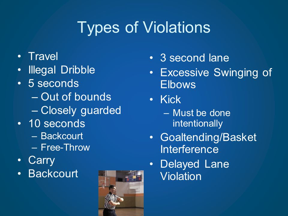 Types of Violations Travel Illegal Dribble 5 seconds –Out of bounds –Closely guarded 10 seconds –Backcourt –Free-Throw Carry Backcourt 3 second lane E
