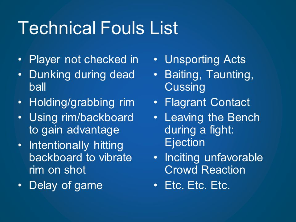 Technical Fouls List Player not checked in Dunking during dead ball Holding/grabbing rim Using rim/backboard to gain advantage Intentionally hitting b