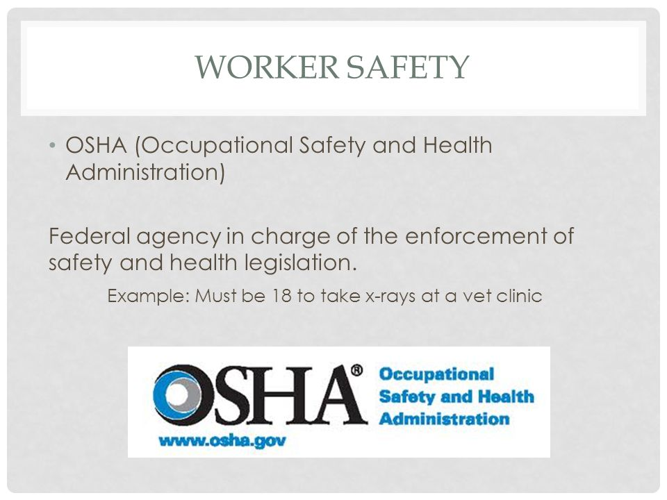 WORKER SAFETY OSHA (Occupational Safety and Health Administration) Federal agency in charge of the enforcement of safety and health legislation. Examp