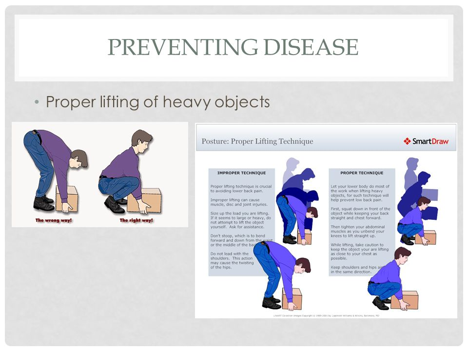 PREVENTING DISEASE Proper lifting of heavy objects