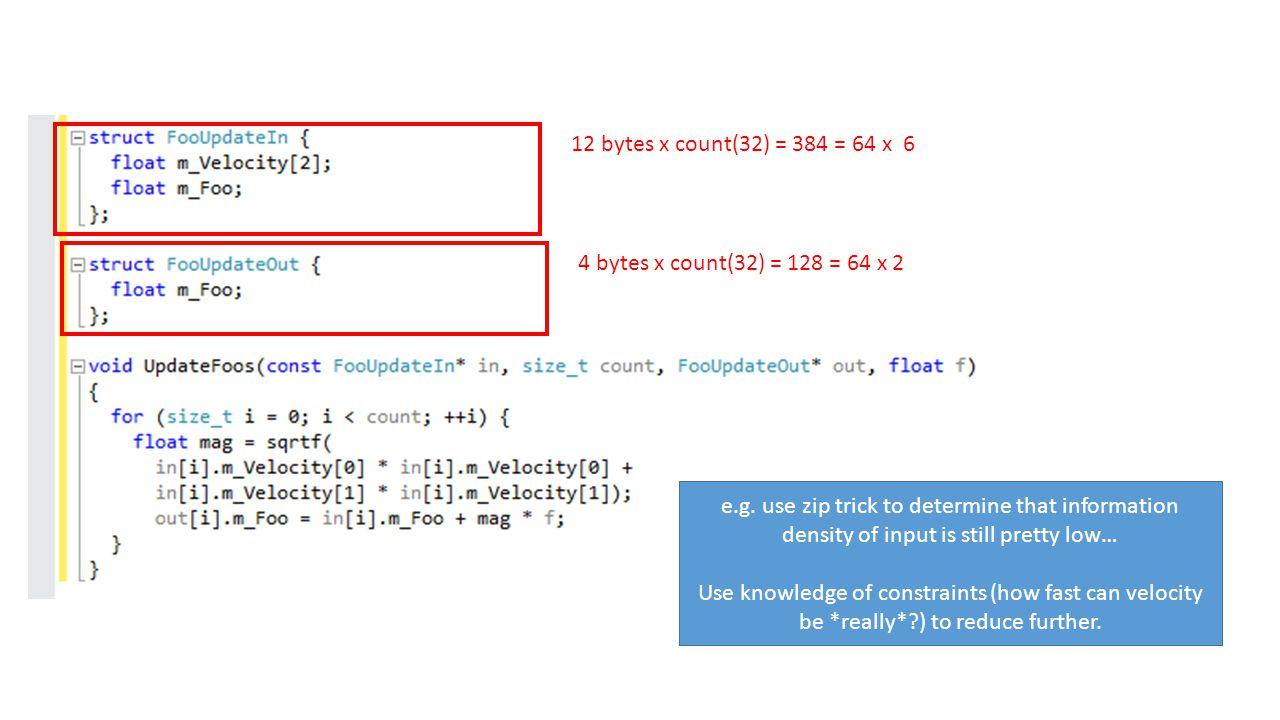 12 bytes x count(32) = 384 = 64 x 6 4 bytes x count(32) = 128 = 64 x 2 e.g.