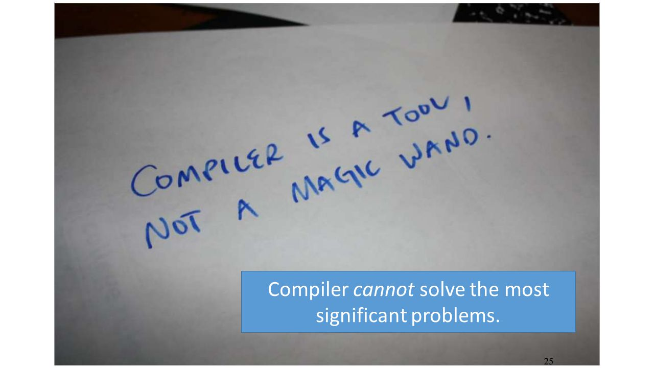 Compiler cannot solve the most significant problems.