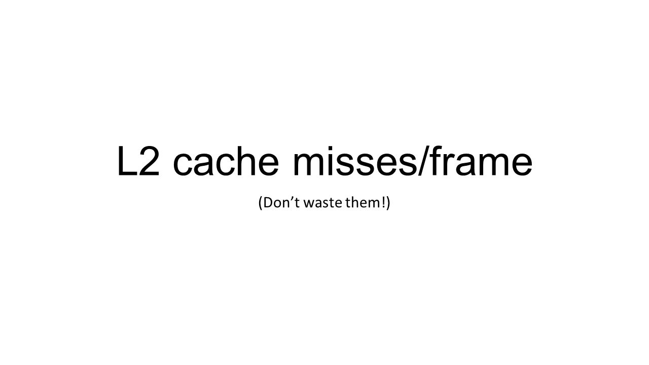 L2 cache misses/frame (Dont waste them!)
