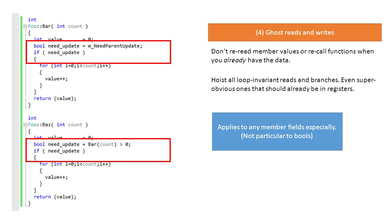 (4) Ghost reads and writes Dont re-read member values or re-call functions when you already have the data.