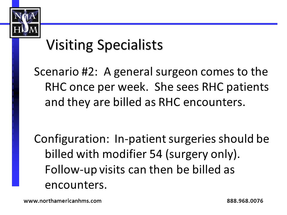 Visiting Specialists Scenario #2: A general surgeon comes to the RHC once per week. She sees RHC patients and they are billed as RHC encounters. Confi