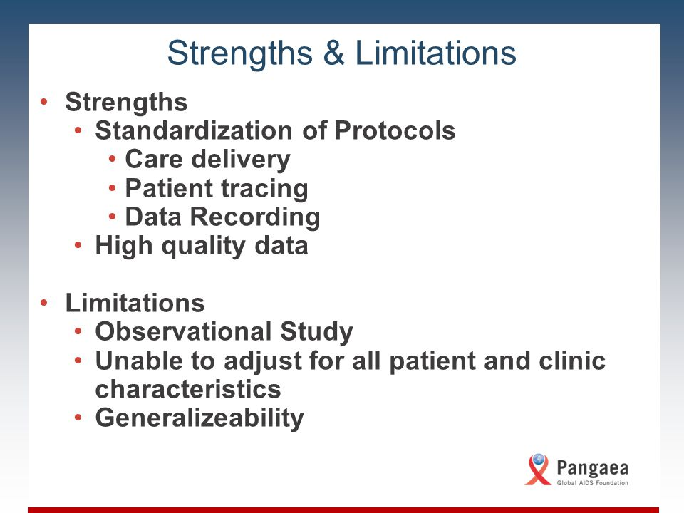 Slide Title Body copy for the slide; level one content Level 1 content Level 2 content Level 3 content Strengths & Limitations Strengths Standardization of Protocols Care delivery Patient tracing Data Recording High quality data Limitations Observational Study Unable to adjust for all patient and clinic characteristics Generalizeability