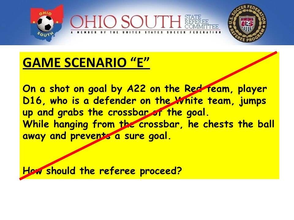 GAME SCENARIO E On a shot on goal by A22 on the Red team, player D16, who is a defender on the White team, jumps up and grabs the crossbar of the goal.