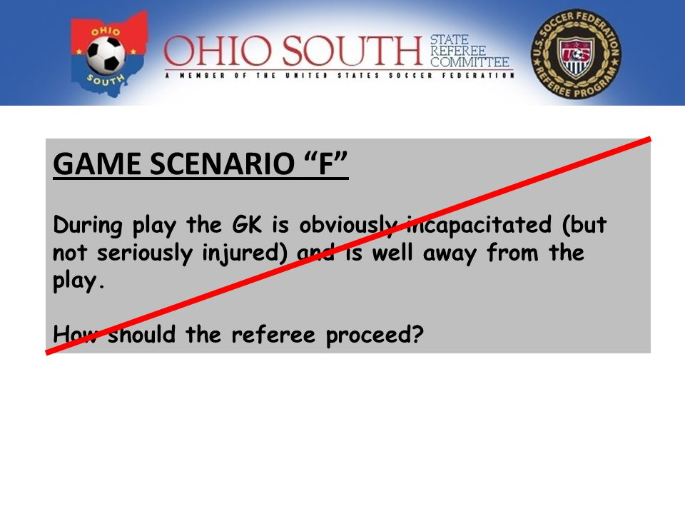 GAME SCENARIO F During play the GK is obviously incapacitated (but not seriously injured) and is well away from the play.
