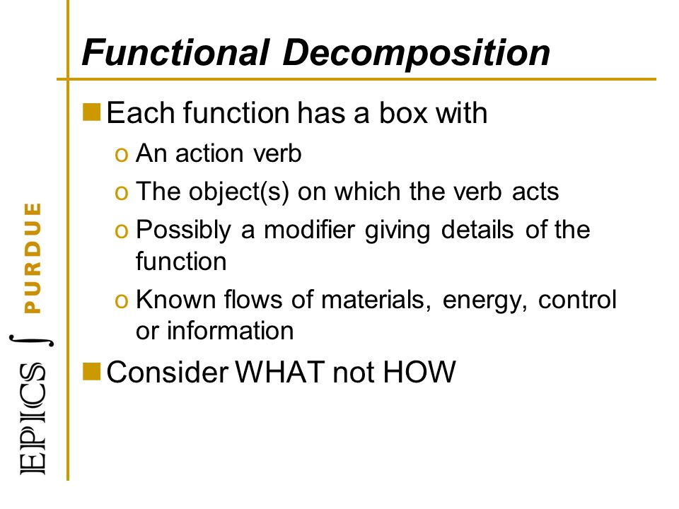 Functional Decomposition Each function has a box with oAn action verb oThe object(s) on which the verb acts oPossibly a modifier giving details of the