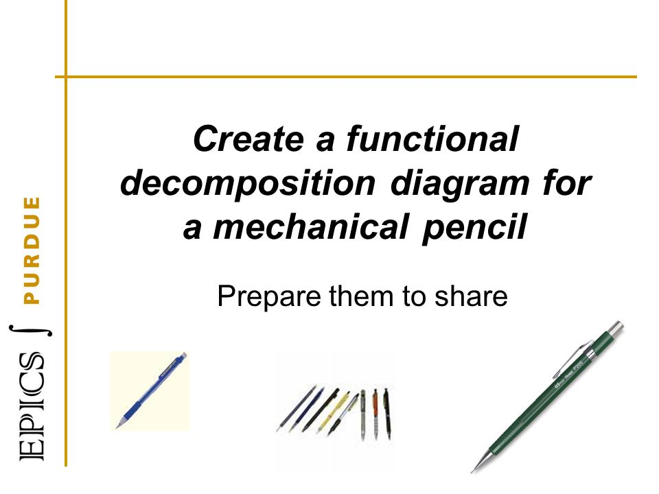Create a functional decomposition diagram for a mechanical pencil Prepare them to share