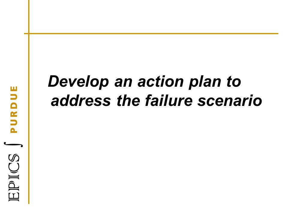Develop an action plan to address the failure scenario