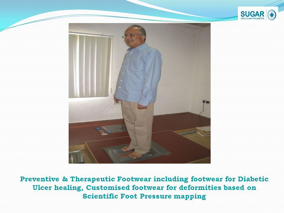 Preventive & Therapeutic Footwear including footwear for Diabetic Ulcer healing, Customised footwear for deformities based on Scientific Foot Pressure mapping