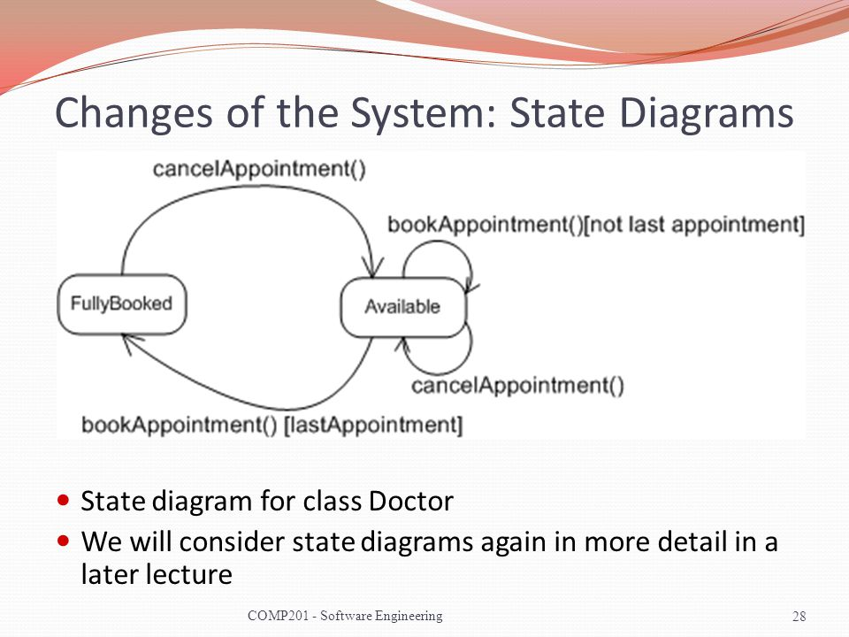 Changes of the System: State Diagrams State diagram for class Doctor We will consider state diagrams again in more detail in a later lecture 28COMP201