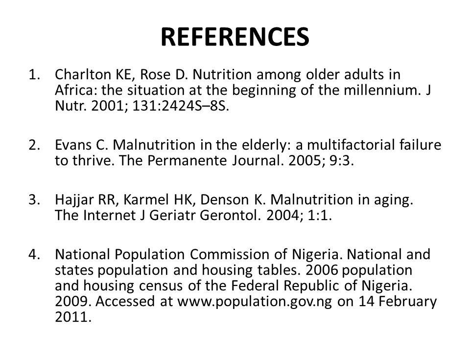 REFERENCES 1.Charlton KE, Rose D.