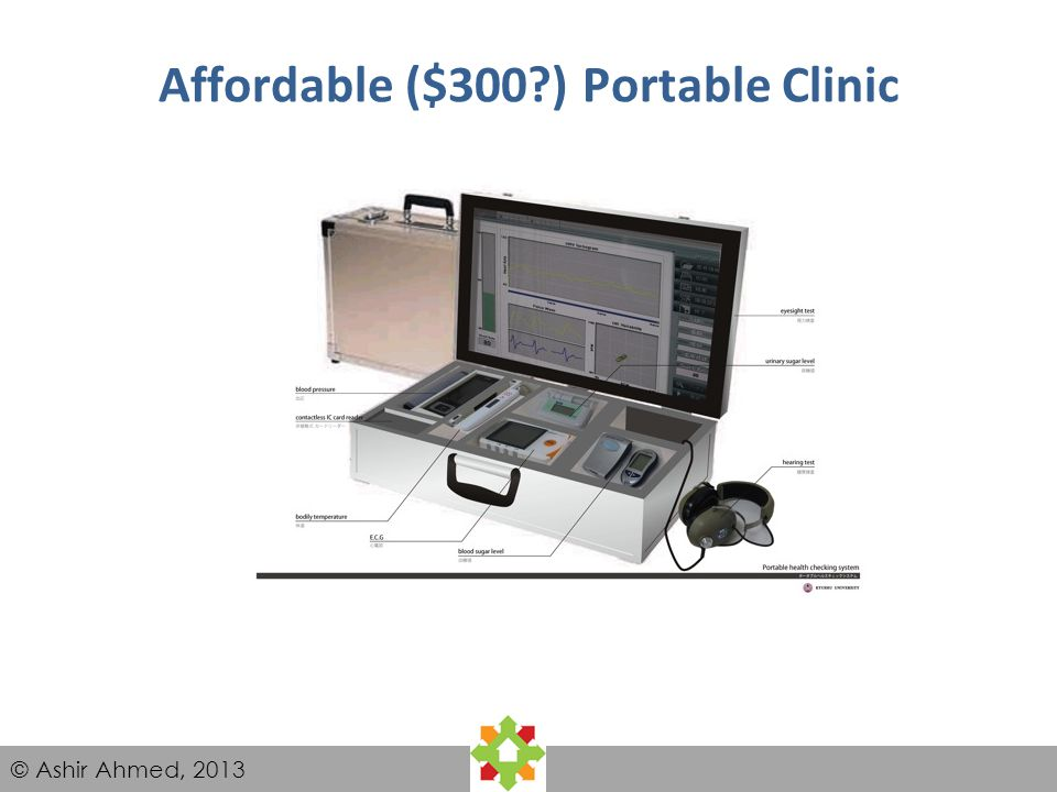 © Ashir Ahmed, 2013 Affordable ($300?) Portable Clinic