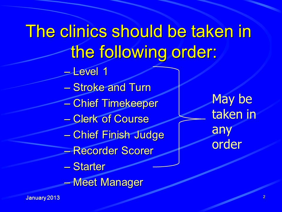 January The clinics should be taken in the following order: –Level 1 –Stroke and Turn –Chief Timekeeper –Clerk of Course –Chief Finish Judge –Recorder Scorer –Starter –Meet Manager May be taken in any order