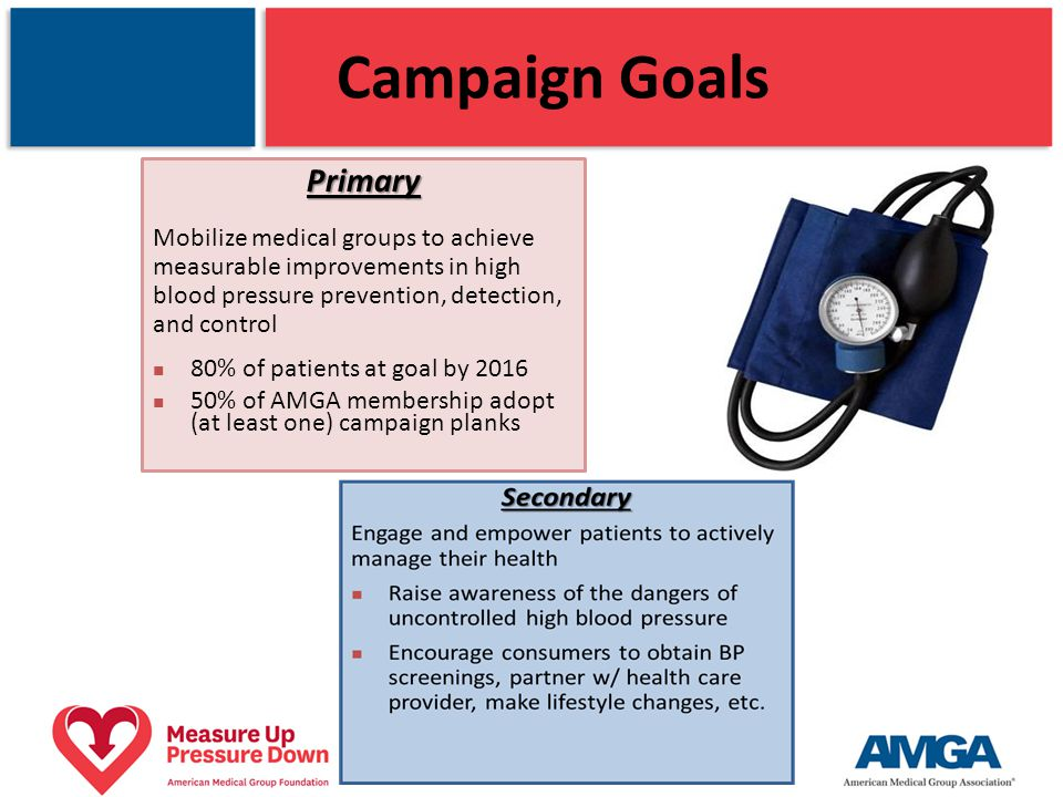 Campaign Goals Primary Mobilize medical groups to achieve measurable improvements in high blood pressure prevention, detection, and control 80% of pat