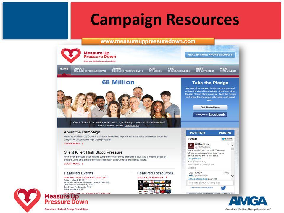 Campaign Resources www.measureuppressuredown.com