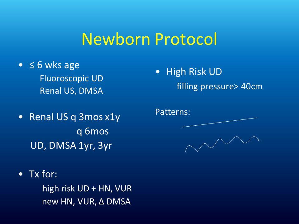 Newborn Protocol 6 wks age Fluoroscopic UD Renal US, DMSA Renal US q 3mos x1y q 6mos UD, DMSA 1yr, 3yr Tx for: high risk UD + HN, VUR new HN, VUR, DMSA High Risk UD filling pressure> 40cm Patterns: