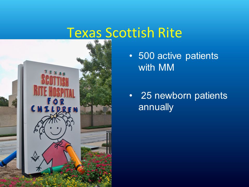 Texas Scottish Rite 500 active patients with MM 25 newborn patients annually