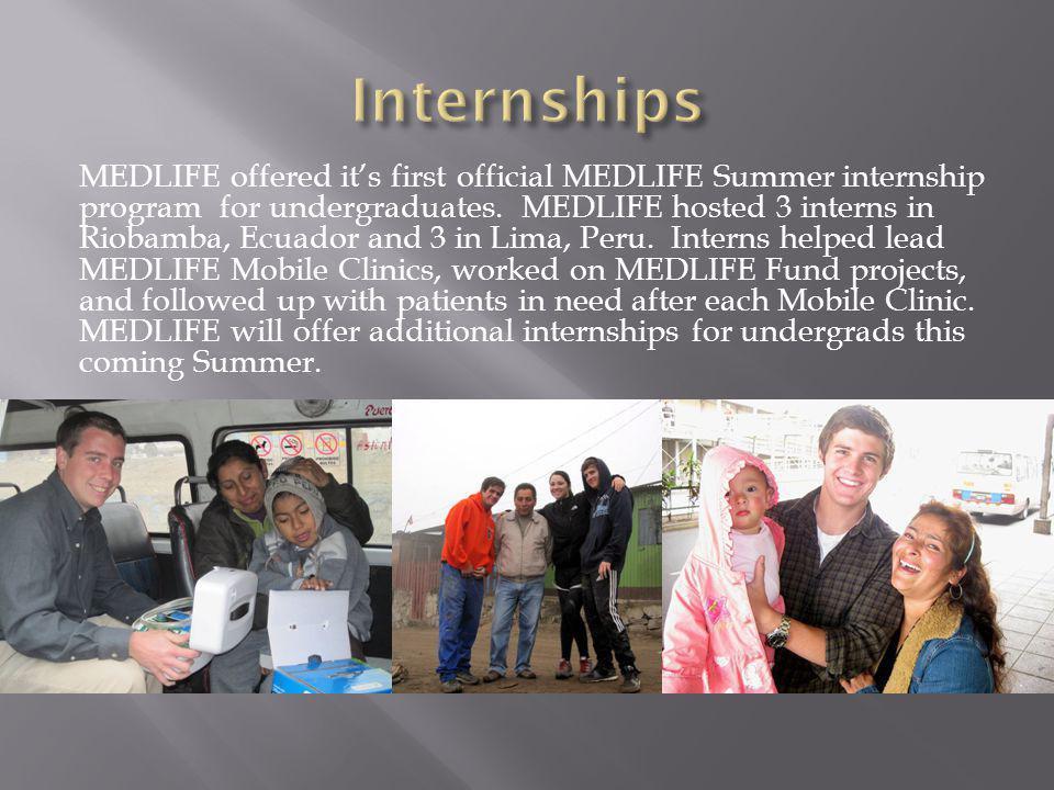 MEDLIFE offered its first official MEDLIFE Summer internship program for undergraduates. MEDLIFE hosted 3 interns in Riobamba, Ecuador and 3 in Lima,