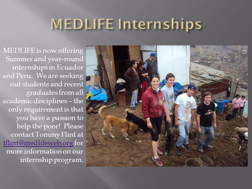MEDLIFE is now offering Summer and year-round internships in Ecuador and Peru.