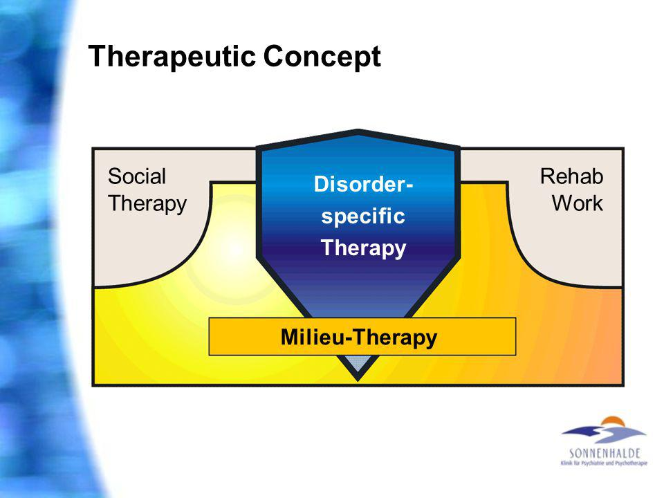 Therapeutic Concept Social Therapy Rehab Work Disorder- specific Therapy Milieu-Therapy
