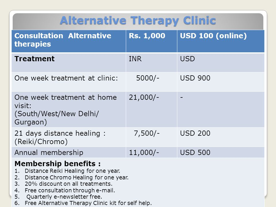 Alternative Therapy Clinic Consultation Alternative therapies Rs. 1,000 USD 100 (online) TreatmentINRUSD One week treatment at clinic: 5000/-USD 900 O