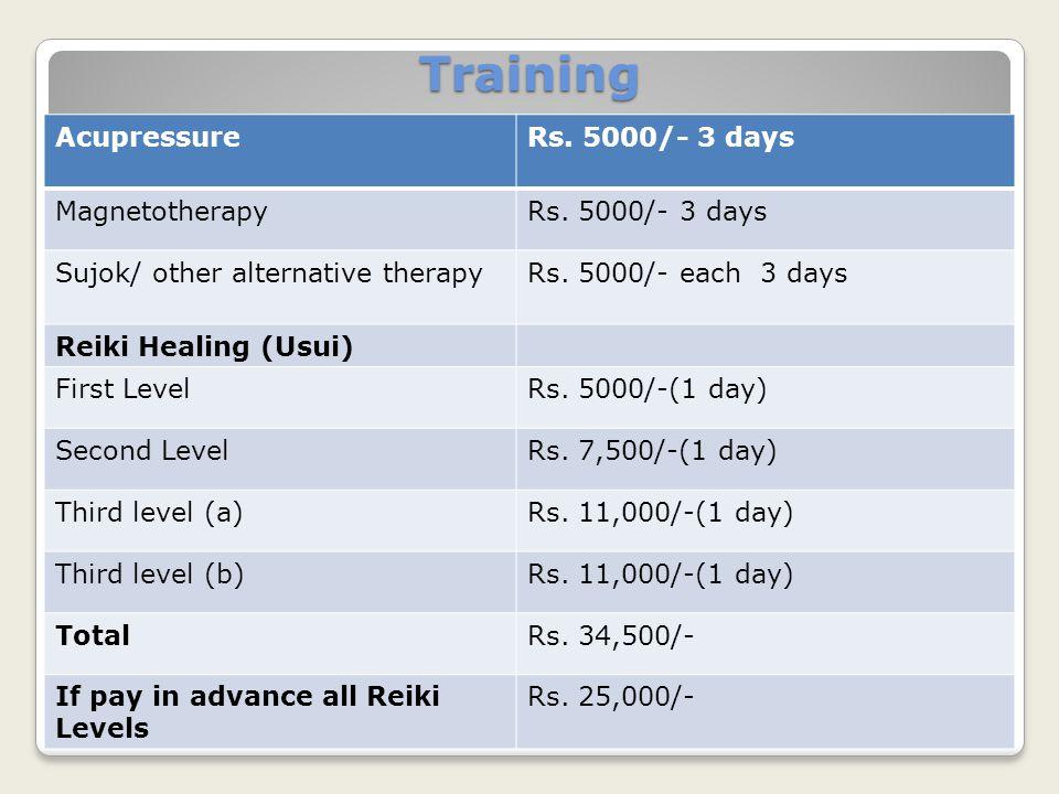 AcupressureRs. 5000/- 3 days MagnetotherapyRs. 5000/- 3 days Sujok/ other alternative therapyRs. 5000/- each 3 days Reiki Healing (Usui) First LevelRs