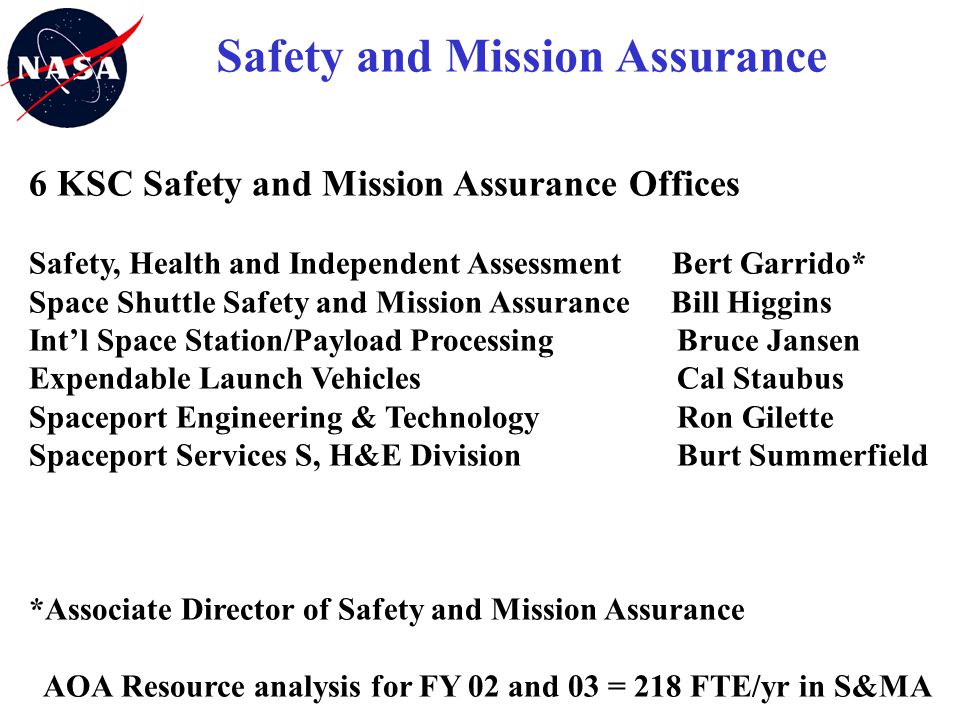 6 KSC Safety and Mission Assurance Offices Safety, Health and Independent Assessment Bert Garrido* Space Shuttle Safety and Mission Assurance Bill Hig