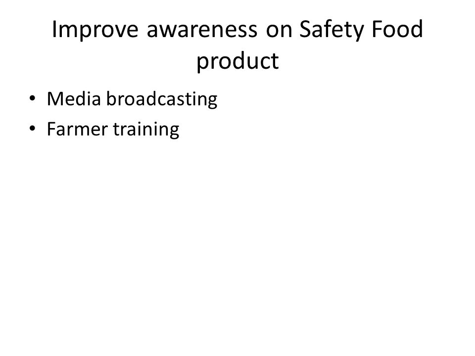 Improve awareness on Safety Food product Media broadcasting Farmer training
