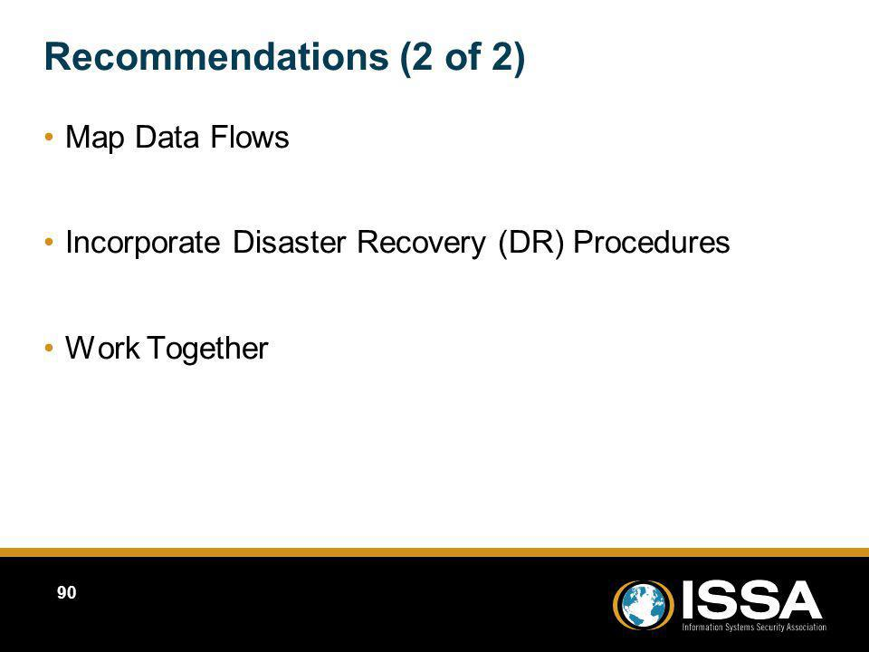 Recommendations (2 of 2) Map Data Flows Incorporate Disaster Recovery (DR) Procedures Work Together Map Data Flows Incorporate Disaster Recovery (DR)