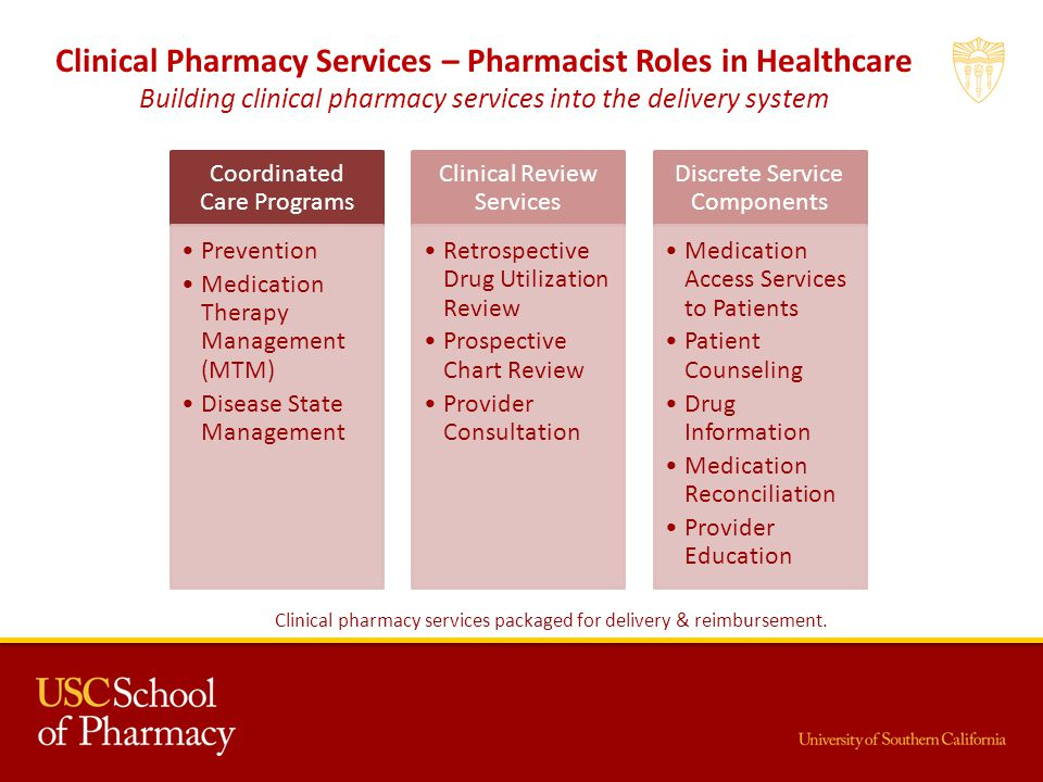 Coordinated Care Programs Prevention Medication Therapy Management (MTM) Disease State Management Clinical Review Services Retrospective Drug Utilization Review Prospective Chart Review Provider Consultation Discrete Service Components Medication Access Services to Patients Patient Counseling Drug Information Medication Reconciliation Provider Education Clinical Pharmacy Services – Pharmacist Roles in Healthcare Building clinical pharmacy services into the delivery system Clinical pharmacy services packaged for delivery & reimbursement.